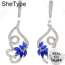 7.85g Butterfly Shape Real Blue Sapphire White Cubic Zirconia Ladies 925 Solid Sterling Silver Earrings 49x16mm