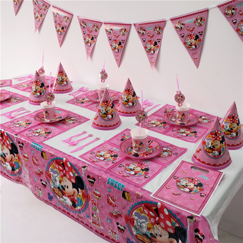 Disney Minnie Mouse Girls Kids Birthday Party Decoration Set Mickey Party Supplies Baby Birthday Party Pack event party supplies minnie dots 4th birthday number minnie print tank top with white ruffles