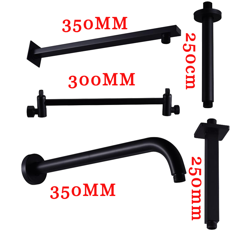 Black Round And Square Shower Arm Multi-style Wall Mount Ceiling Mount Shower Holder Brass Folding Extension Telescopic Arm