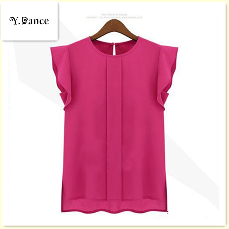 NewWomen Blouses Shirts Chiffon Clothing Summer Ladies Blouse Shirt New 2017 Fashion Ruffle Short Sleeve 4 Colors Tops OL Blouse