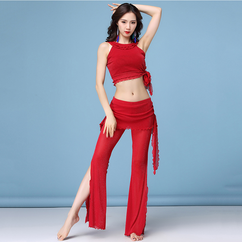 Women Belly Dance Costumes Fashion Dance Clothing 2pcs Top +pants For Girls Fork Pantskirt Latin Dance Dancer's Clothing