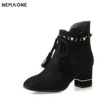 NEMAONE 2019 Women Shoes Ankle Boots Elastic band Stretch Fabric High Heel Fashion Women Party Shoes Black Warm Size 34-43