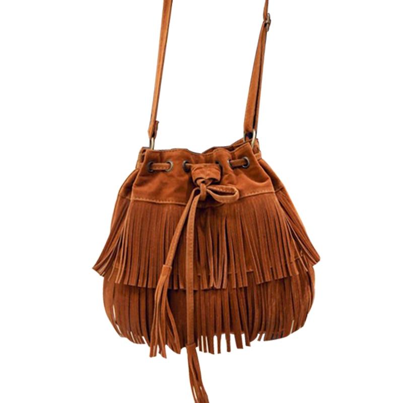 Simple Retro Fringed Drawstring Bucket Shoulder Bag Women Ladies Synthetic Leather Punk Tassel Messenger Bags Bolsa