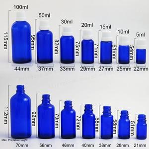 Image 2 - 200 x 5ml 10ML 15ml 20ml 30ml 50ml 100ml Cobalt Blue Mini Glass Essential Oil Bottle With White Black Tamper Evident Cap Reducer