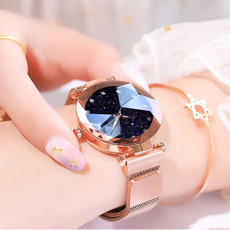 Top Brand Luxury Ladies Watch Magnet Stainless Steel Mesh with Starry Sky Fashion Diamond Female Quartz Watch Relogio Feminino