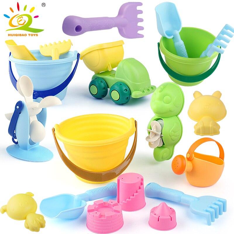 HUIQIBAO juguetes 5 piezas conjunto playa Arena agua juego juguetes Set niños playa cubo coches pala rastrillo Kit de construcción mar herramientas divertidas