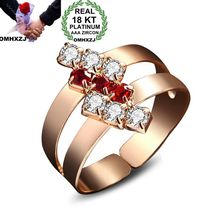 OMHXZJ Wholesale Personality Fashion OL Woman Girl Party Wedding Gift Geometric AAA Zircon 18KT Shallow Gold Ring RN14