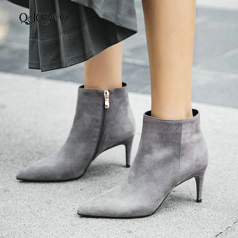 Women Suede Thin High Hell Ankle Boots Fashion Zipper Boots Comfort Pointed Toe Fall Winter Women Boots Black Gray ApricotWomen Suede Thin High Hell Ankle Boots Fashion Zipper Boots Comfort Pointed Toe Fall Winter Women Boots Black Gray Apricot
