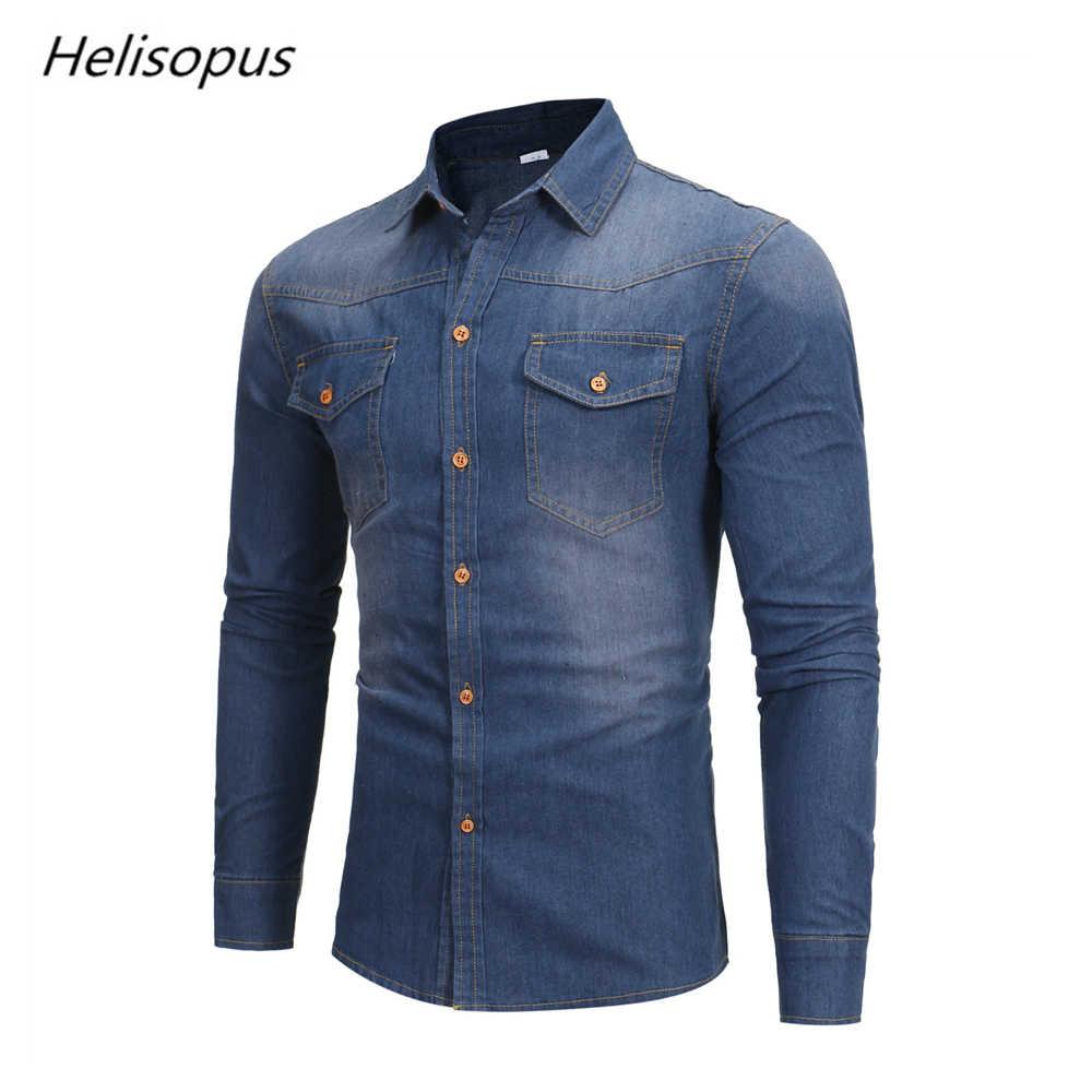Helisopus Мода 2018 г. Мужская джинсовая рубашка Slim Fit повседневное деним с длинным рукавом хлопковые рубашки топы корректирующие плюс размеры США уличная Camisa