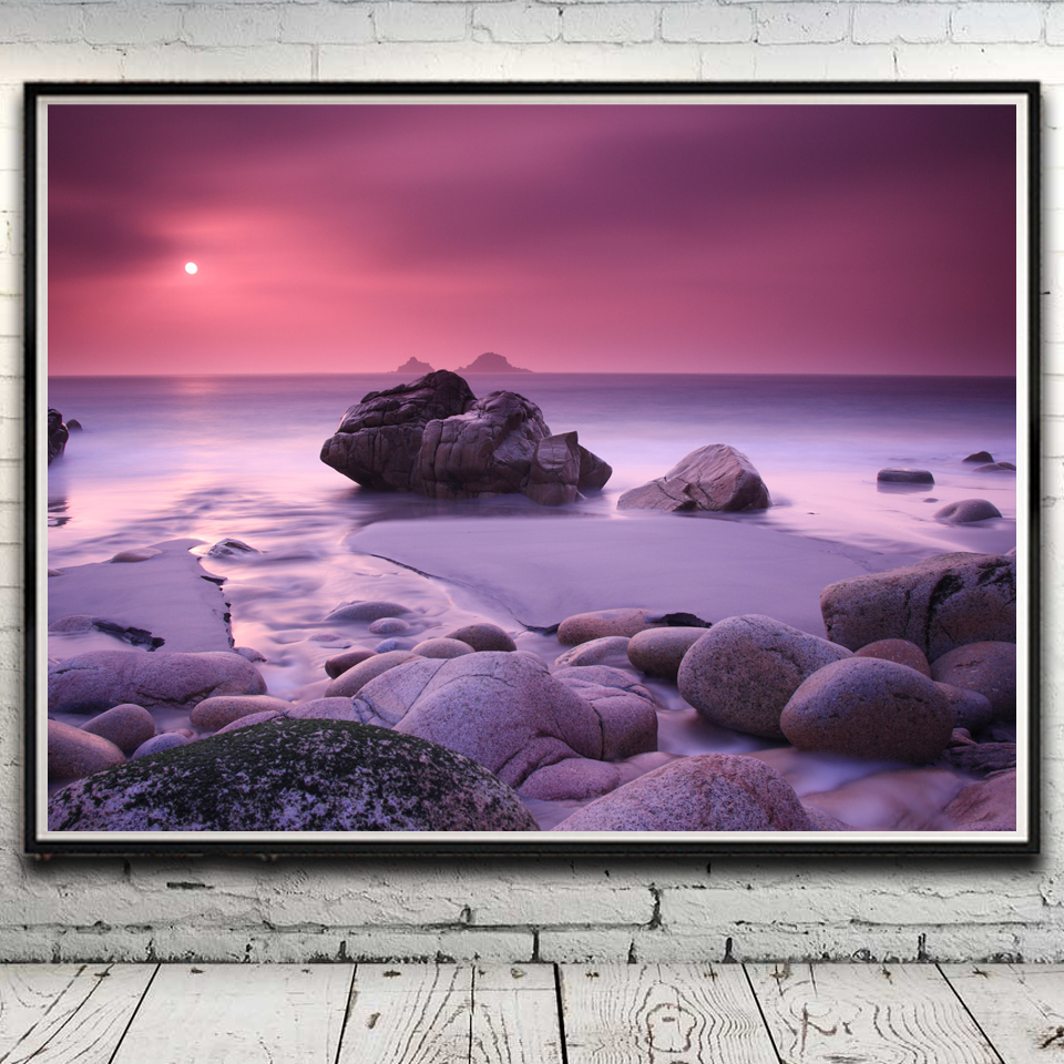 nature sun clouds stones fog landscape seascape art silk poster home decor picture 12x16 18x24 24x32