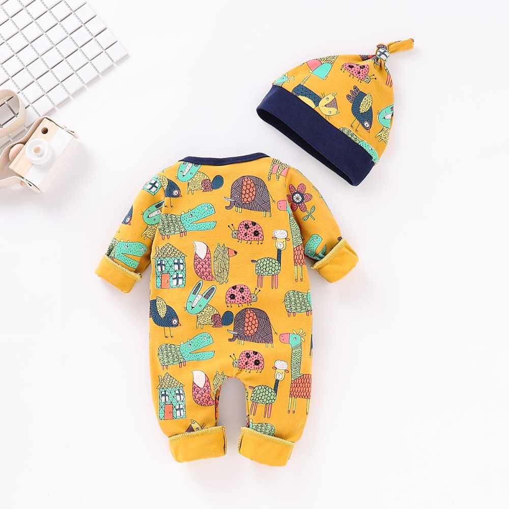 Baby Rompers Long Sleeve Newborn Boys Girls Jumpsuits Hats Clothes Infant Bebes Romper Soft Cotton Toddler Kids Outfits 0-18M 3