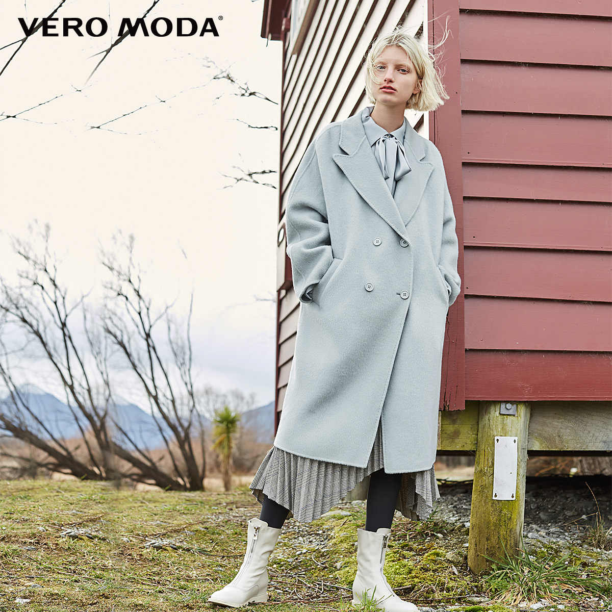 Vero Moda 2019 New Women's 91% Wool Double-faced Lapel Winter Woolen Coat | 318427515