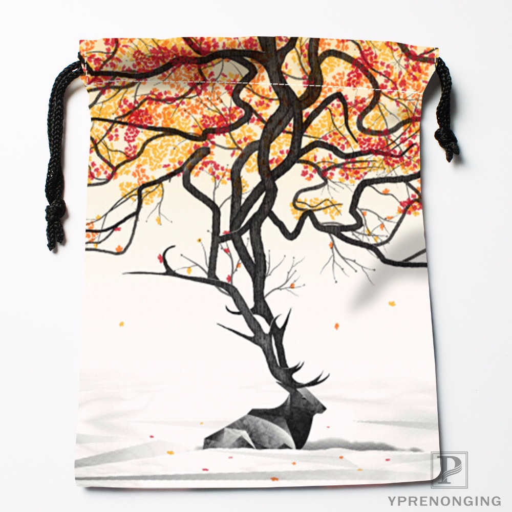 Custom Deer Tree Best Fashion Drawstring Bags Travel Storage Mini Pouch Swim Hiking Toy Bag Size 18x22cm#0412-04-217