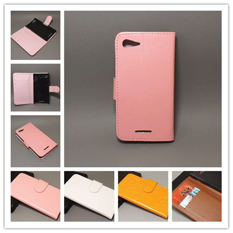 Crazy horse wallet case hold two Cards with 2 Card Holder and pouch slot For Sony Xperia E3 D2203 D2206