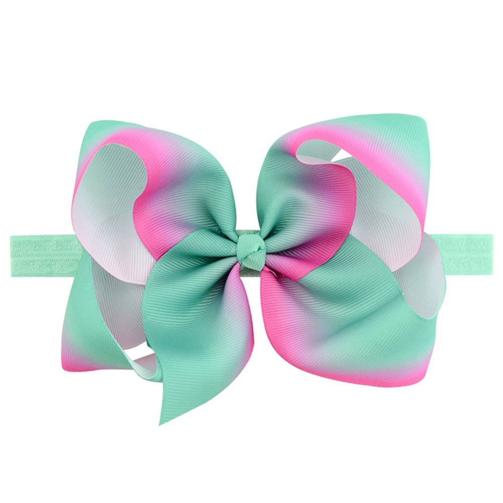 Mengna Large 6 Girls Ribbon Hair Bows Headbands Rainbow Hair Bows