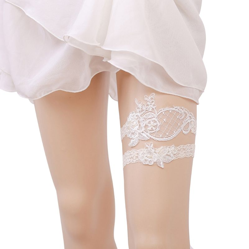Womens Hollow Mesh Wedding Thigh Rings Set Embroidered Floral Lace Elastic Imitation Pearl Princess Bridal Seamless Leg Garters