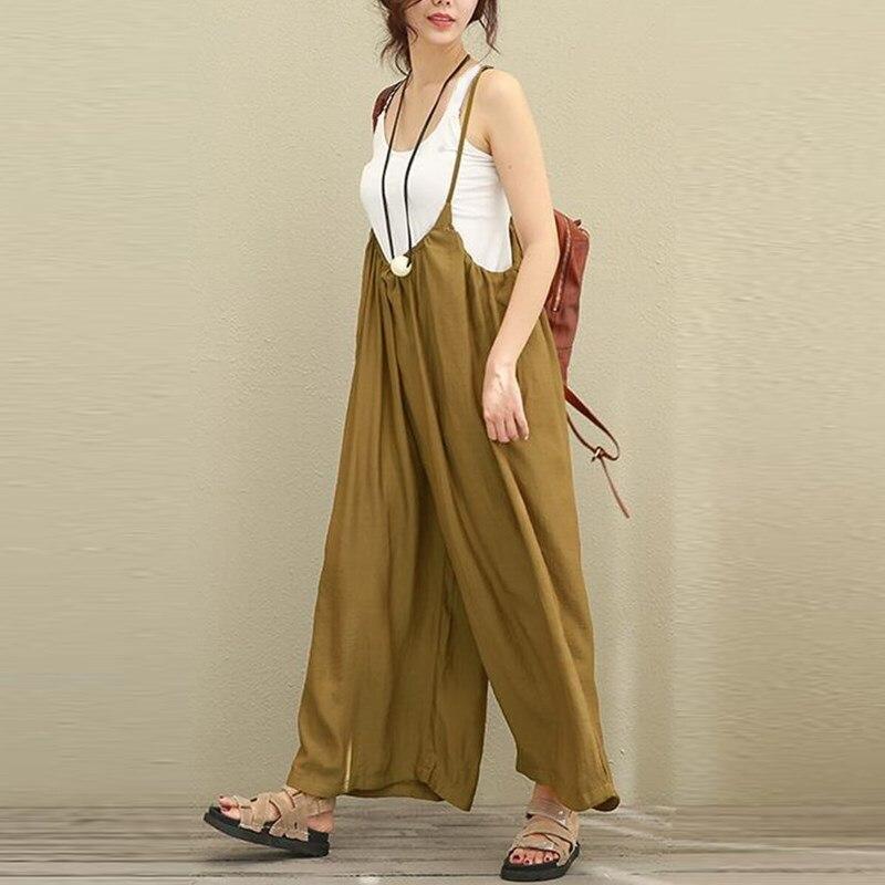 Cotton Linen New Women Overalls Wide Leg Pants Vocation Dungarees Casual Cotton Linen Jumpsuits Long Trousers Plus Size Rompers