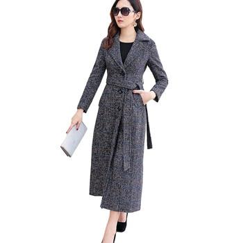 High-end brand Women Plaid X-Long Woolen Coat Elegant Slim Ladies Overcoat Jacket Large size Female Windbreaker Wool Coats 5XL