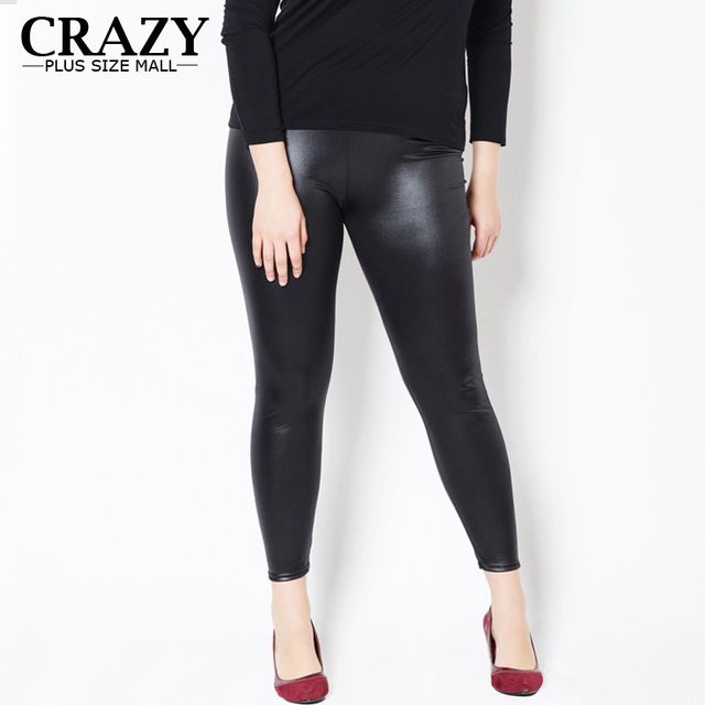 ab1d671b77e281 2018 XL- 5XL Fit 45-120kg Women Plus Size Leggings High Waist Sexy Faux  Leather Leggings Slim PU Skinny Pants 5XL 3XL