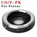 Contax yashica cy c/y a la lente pentax k pk mount adaptador con óptica de vidrio y tapa