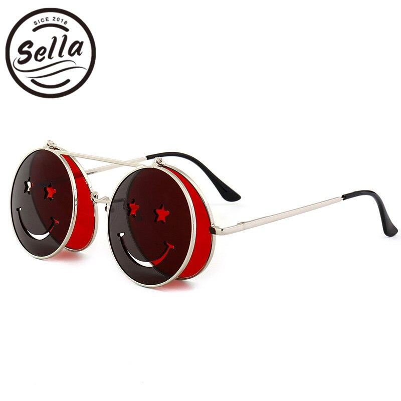 Sella New Unique Fun Smile Steampunk Sunglasses Fashion Women Men Punk Clamshell Round Frame Tint Lens Sun Glasses
