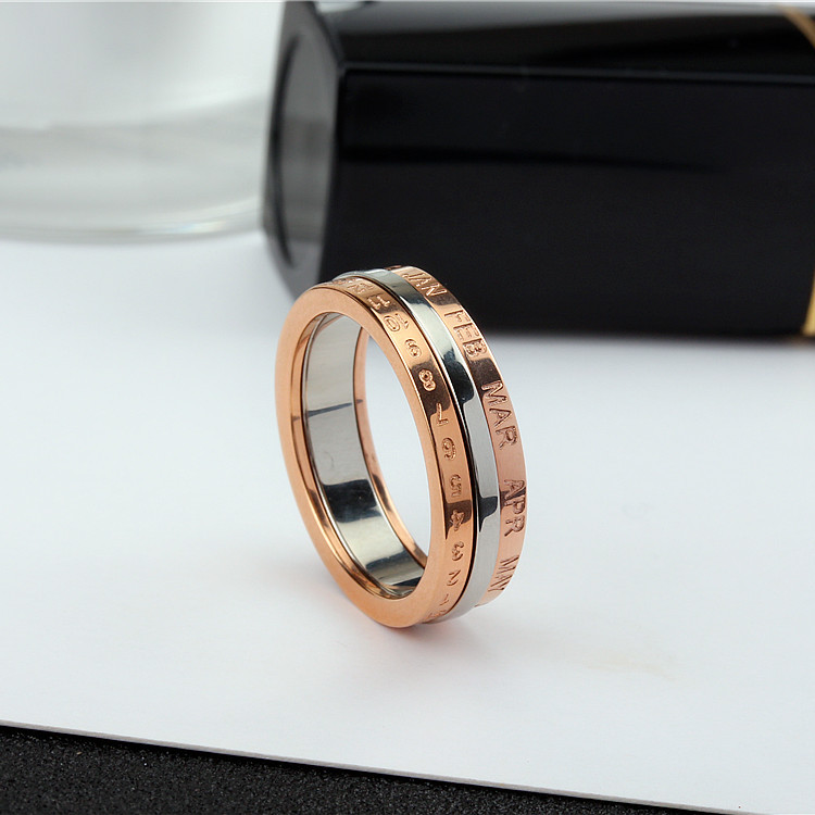 YUN RUO 2020 Rose Gold Personlighet Rotatable Number Ring for Woman - Märkessmycken