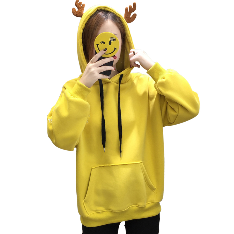 Casual Loose Pullover Solid Color Tops Women Sweatshirts Winter Women's Hoodies Embroidery Snowflake Antler Women's