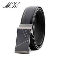 Maikun Automatic Belts for Men Geometric Lines Metal Buckle Male Business Casual Cummerbund Jeans