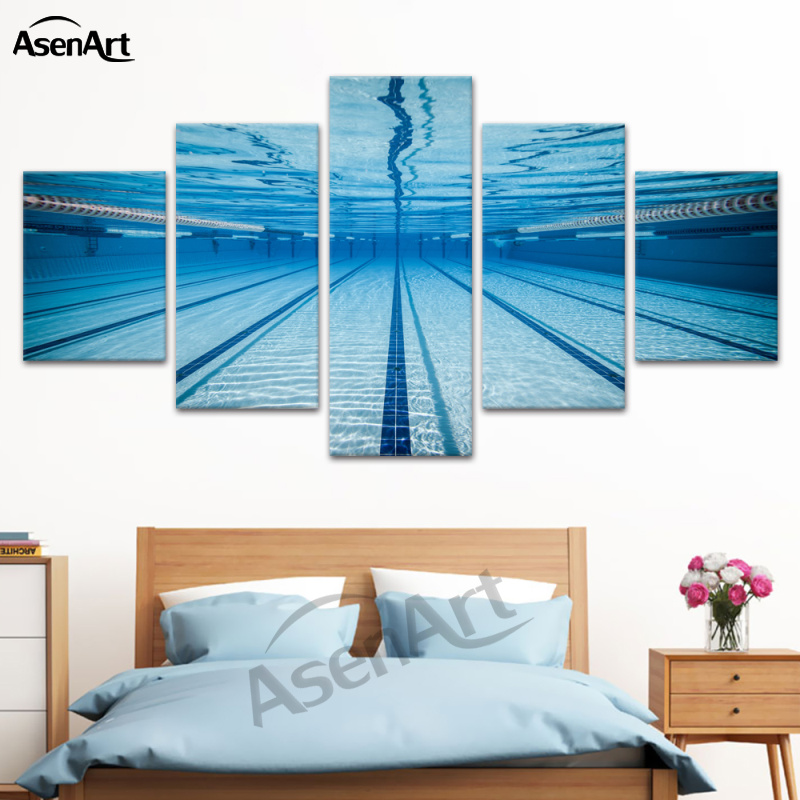 US $9.24 50% OFF|5Panel Canvas Art Modern Swimming Pool Painting Prints on  Canvas Wall Art Pictures for Living Room Home Decoration Ready To Hang-in  ...