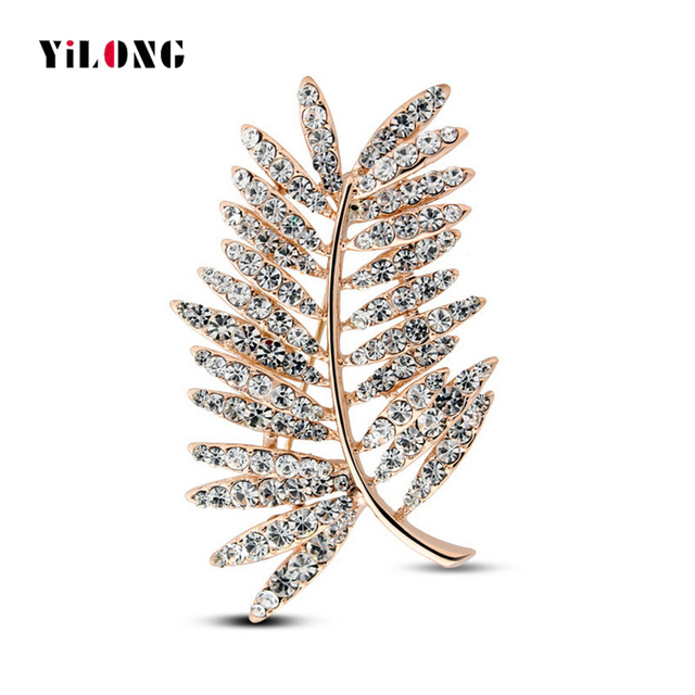 2016 New Arrival Gold Plated Full Crystal Leaf Rhinestone Brooch for Women Gift Free Shipping 4992