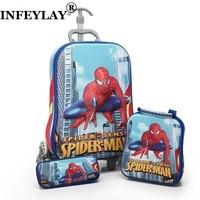 3PCS/set kids anime Travel Luggage spiderman 3D stereo Pull rod box cartoon child pencil box children suitcase gift Boarding box