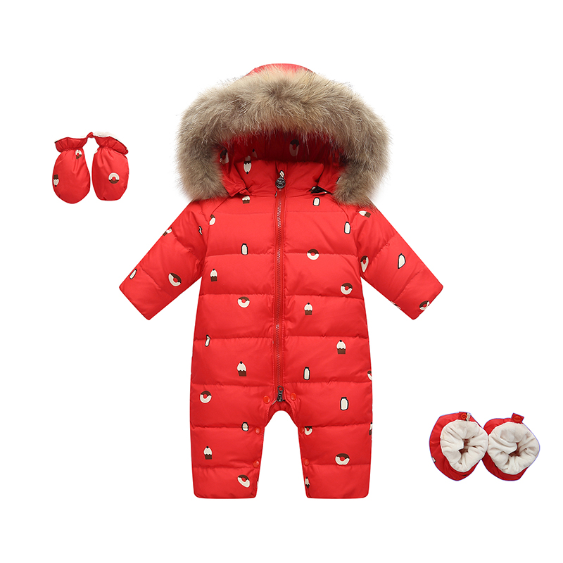 2018 Winter Kids Girls Boys Snowsuit Jumpsuit Baby White Duck Down Jackets Overall Children Real Raccoon Fur Hooded Rompers