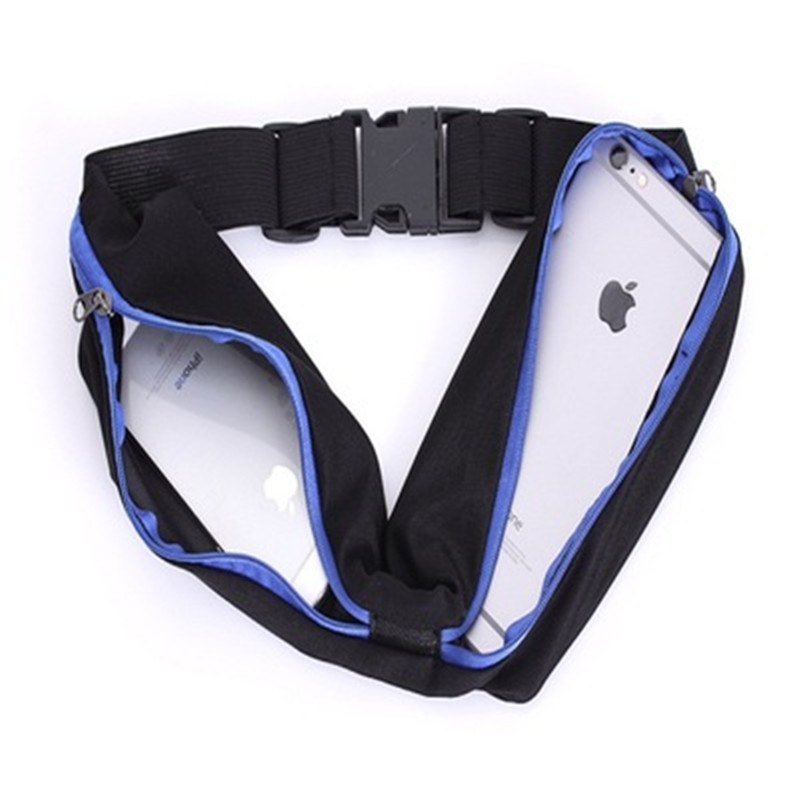 2019 Waist Bag Men Women Fanny Pack Fashion Double Pocket Phone Belt Nylon Casual Small Bag For Traveling Running Sport in Waist Packs from Luggage Bags