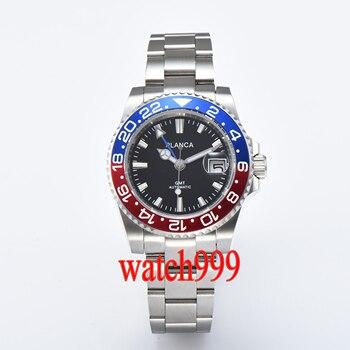 40mm PLANCA sapphire crystal bezel GMT automatic men's watch black dial steel strap waterproof mechanical watch