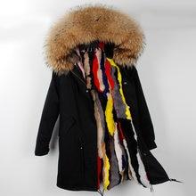 496f21b5087 OFTBUY 2019 Длинная зимняя куртка для женщин Зимний Женская парка реального  енота меховой воротник с капюшоном