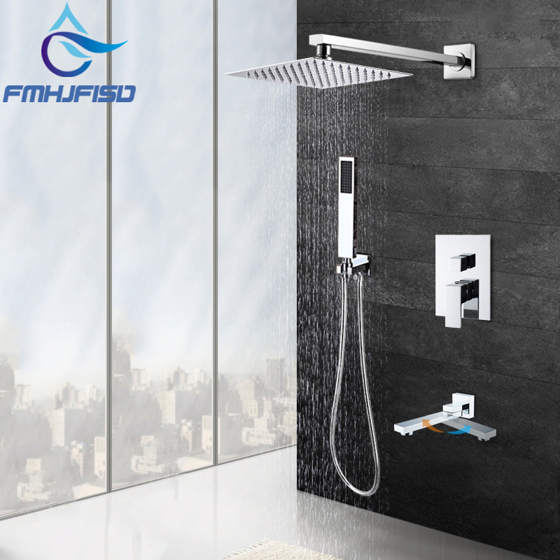 Modern Square Chrome Rain Shower Head Faucet W/ Hand Shower Sprayer Mixer Bathroom Shower Faucet Set Mixer Valve Tap 8 10 12 16