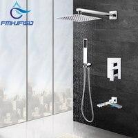 Modern Square Chrome Rain Shower Head Faucet W/ Hand Shower Sprayer Mixer Bathroom Shower Faucet Set Mixer Valve Tap 8 10 12 16