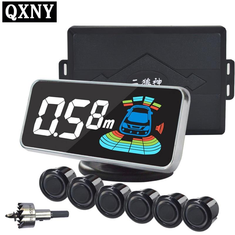 6 / مجسات NY606 عرض LCD Car Parking Sensor Kit لجميع مواقف السيارات المساعدة في عكس الرادار