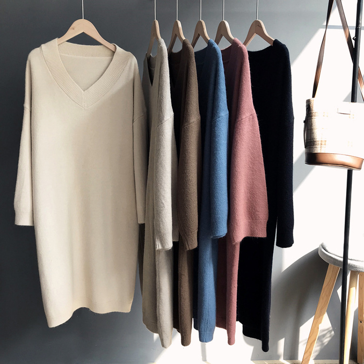 2018 New Autumn Women Knitting Casual Dresses Long Sleeve V Neck Knee Length Soft Loose Knitted Sweaters Home Basic Dress