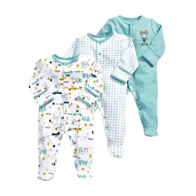 3 PCS Baby Romper Long Sleeves 100% Cotton Baby Pajamas Cartoon Printed  Newborn Baby Girls