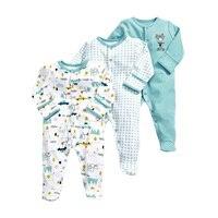3 PCS Baby Romper Long Sleeves 100% Cotton Baby Pajamas Cartoon Printed Newborn Baby Girls Boys Clothes Baby Clothing Newborn