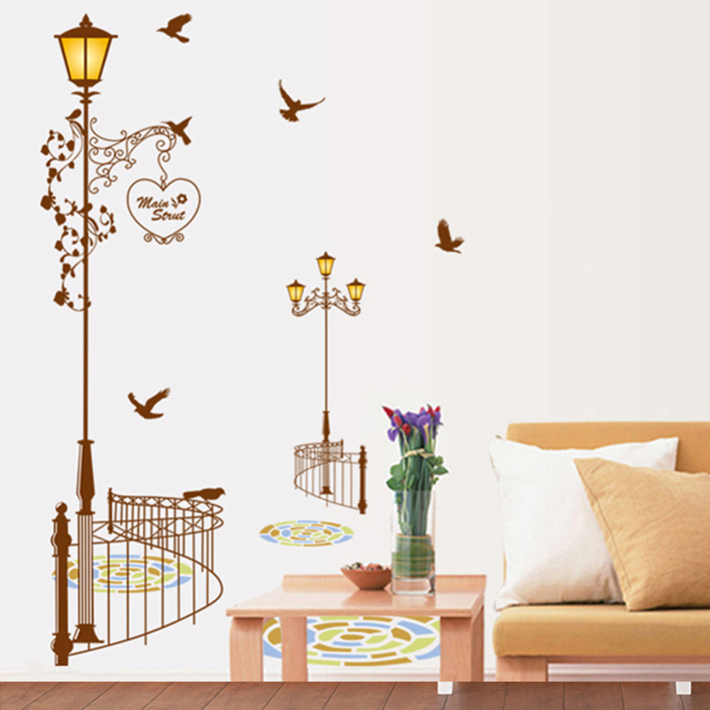 Popular ancient lamp birds wall sticker wall mural home for Room decor stores online