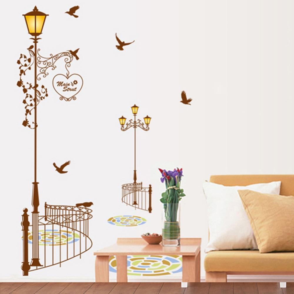 Lamp light wall art decor removable mural vinyl decal sticker purple - Popular Ancient Lamp Birds Wall Sticker Wall Mural Home Decor Living Room Bedroom Decals Wallpaper Coffee