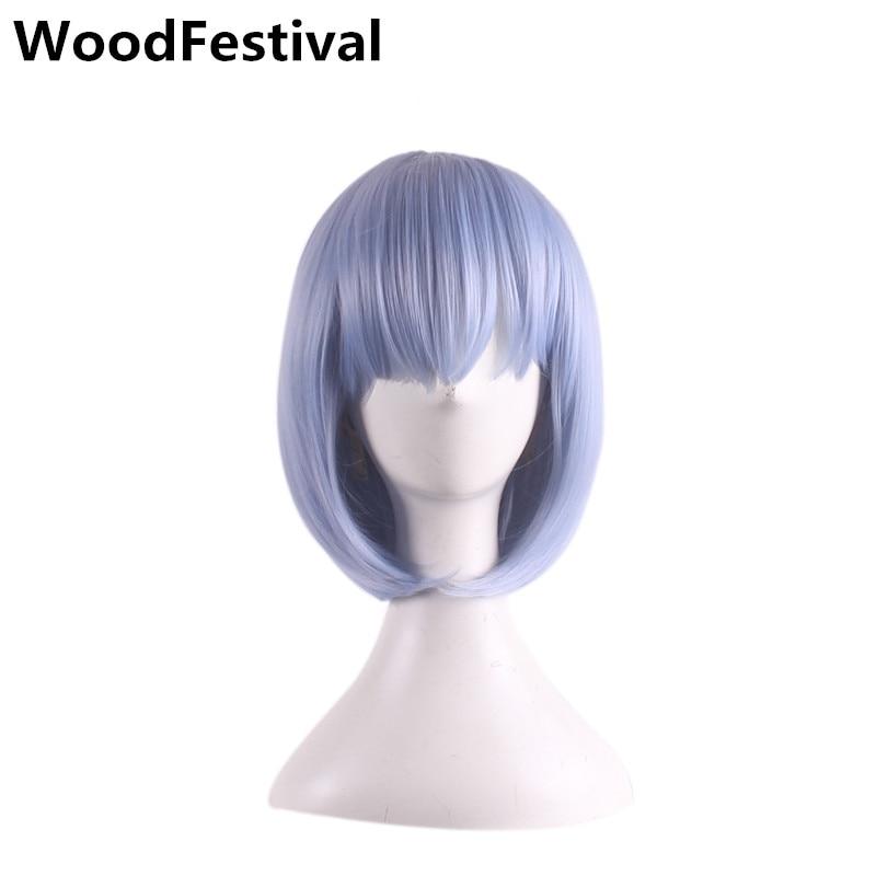 WoodFestival peluca corta con flequillo cosplay pelucas mujeres corto azul rosa pelucas resistente al calor bob peluca sintética pelo recto