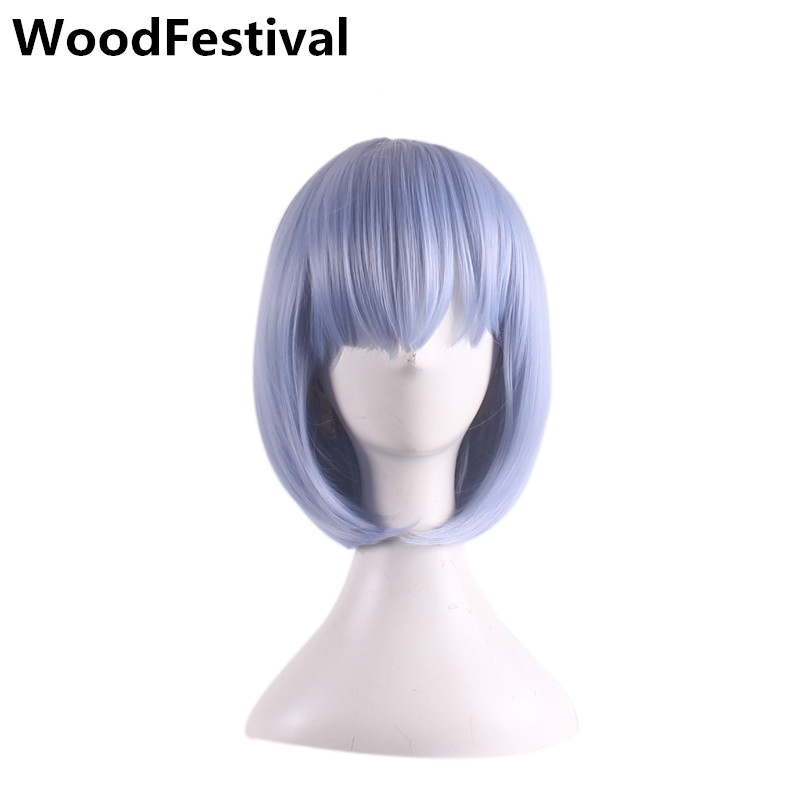 WoodFestival kort peruk med bangs cosplay peruker kvinnor kort blå rosa peruker värmebeständig bob syntetisk peruk rakt hår