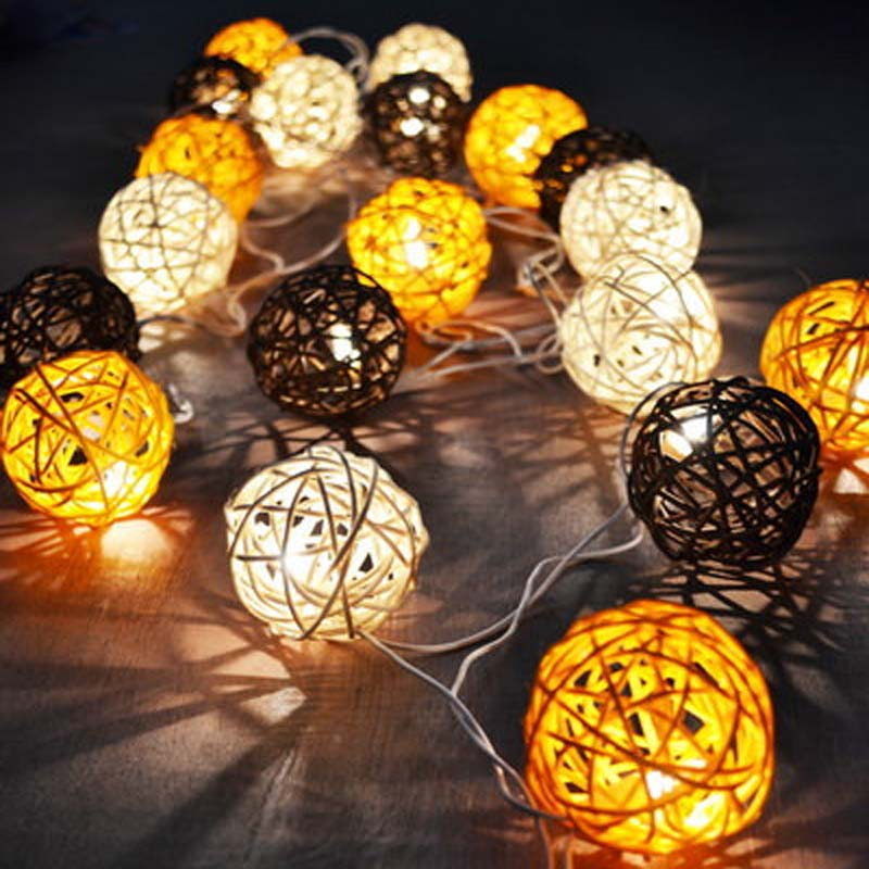 YIMIA 5m LED String Rattan Balls Sepak Takraw Light Strings 20 Bulbs Garlands Fence Beach Bar Wedding Christmas Party Decoration