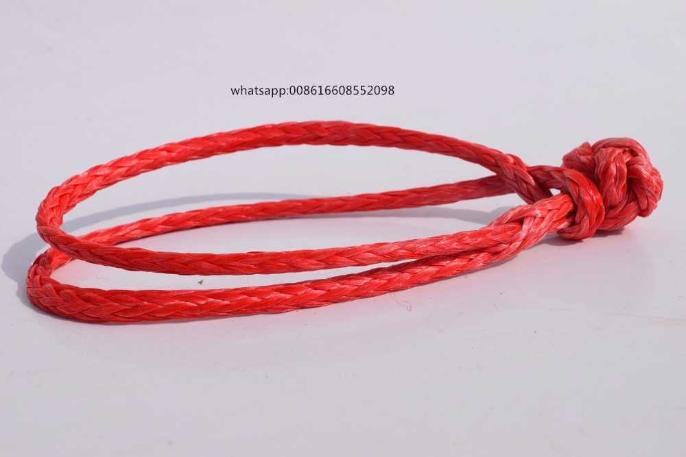 2pcs Red 4mm*90mm Soft Shackles,ATV Winch Shackle for Yacht,Boat Rope Shackle