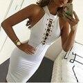 Новое Прибытие 2016 Женщины Без Рукавов Белый Секс Mini Dress O Шейного Шнурка до Ночной Клуб Платья Bodycon Выдалбливают Dress Sml Vestidos