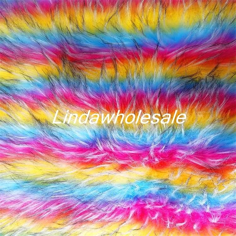 High grade rainbow raccoon fur jacquard plush fabric felt cloth Clothing shoe accessories faux fur fabric