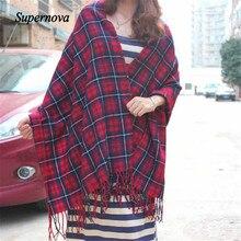 Hot Autumn Winter Oversized Blanket Tartan Shawl Scarf Warm Shawl Plaid Cashmere Imitation Scarf women foulard